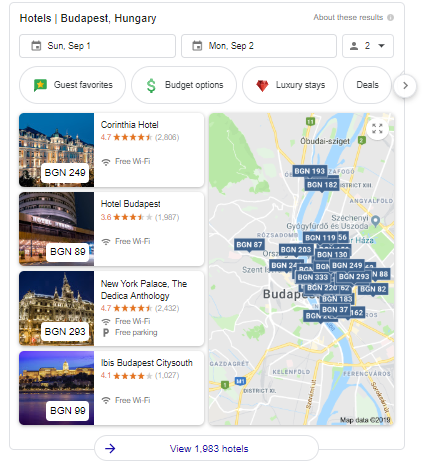 google hotels search